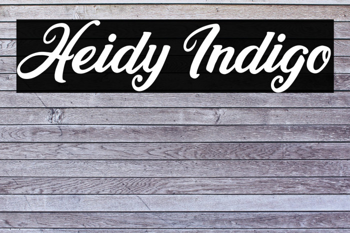 Heidy Indigo Fonte examples