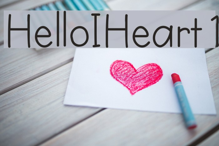 HelloIHeart1 字体 examples
