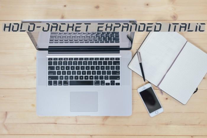 Holo-Jacket Expanded Italic Шрифта examples