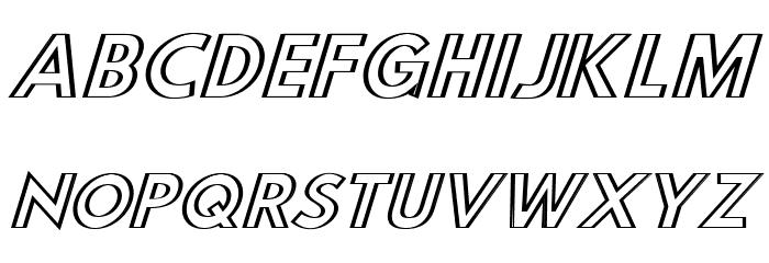 Hussar Outliner Oblique Font UPPERCASE