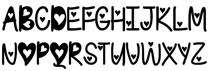 I Found My Valentine Hearted Font UPPERCASE