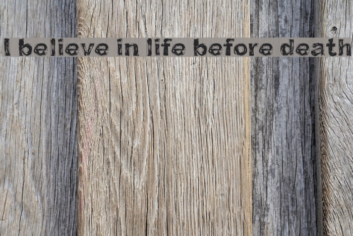 I believe in life before death Шрифта examples