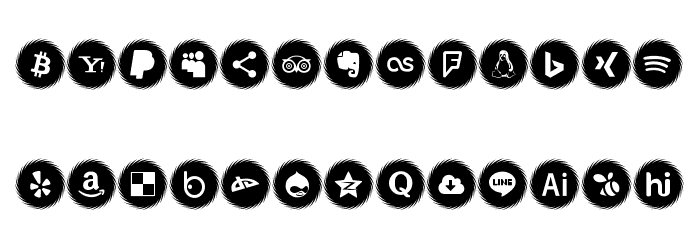Icons Social Media 15 Font UPPERCASE