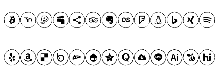 Icons Social Media 2 Font UPPERCASE