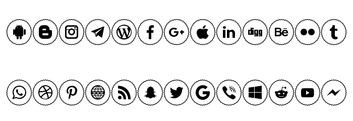 Icons Social Media 2 Font LOWERCASE