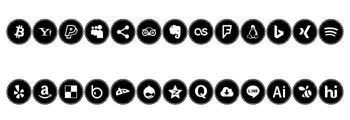 Icons Social Media 3 Font UPPERCASE