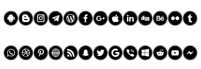 Icons Social Media 3 Font LOWERCASE