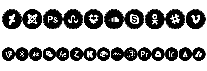 Icons Social Media 6 Caratteri ALTRI CARATTERI