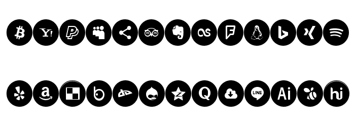 Icons Social Media 6 Font UPPERCASE