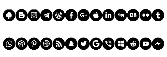 Icons Social Media 6 Font LOWERCASE