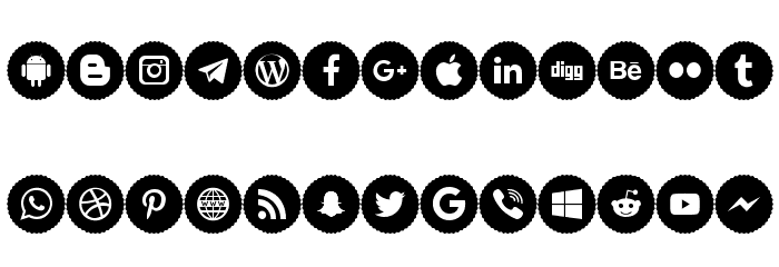 Icons Social Media 9 Polices MINUSCULES