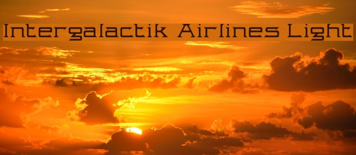 Intergalactik Airlines Light Font examples