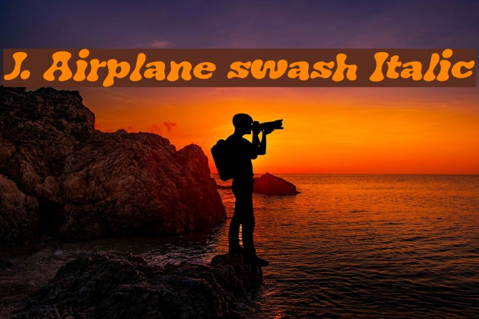 J. Airplane swash Italic Font examples