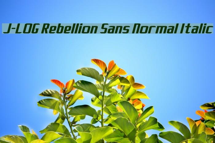 J-LOG Rebellion Sans Normal Italic Font examples