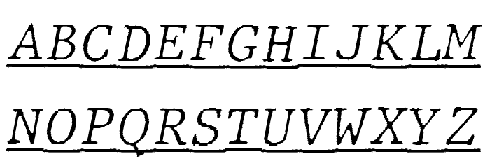 JMHTypewritermonoFineUnder-Ital फ़ॉन्ट अपरकेस