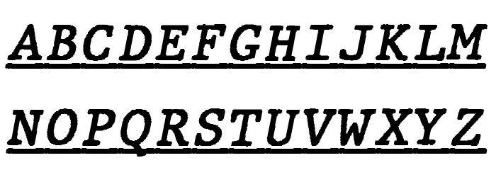 JMHTypewritermonoUnder-Italic फ़ॉन्ट अपरकेस