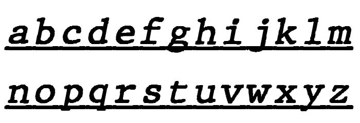JMHTypewritermonoUnder-Italic फ़ॉन्ट लोअरकेस