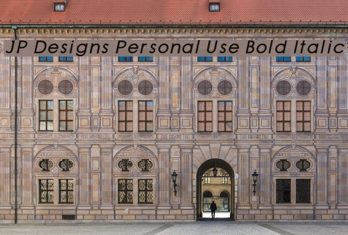 JP Designs Personal Use Bold Italic Font examples