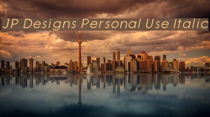 JP Designs Personal Use Italic Schriftart examples