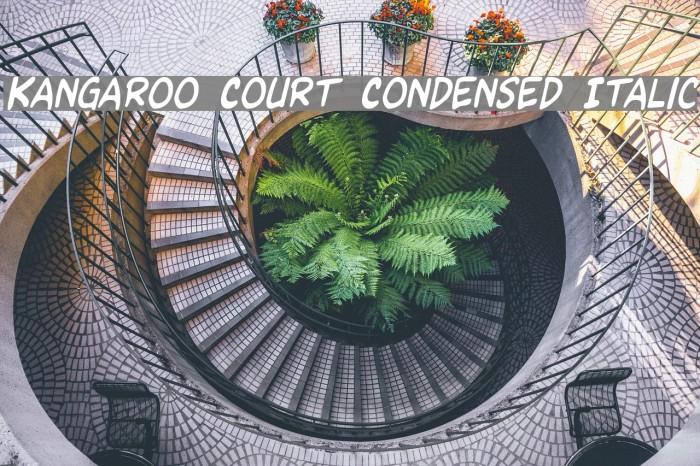 Kangaroo Court Condensed Italic Caratteri examples