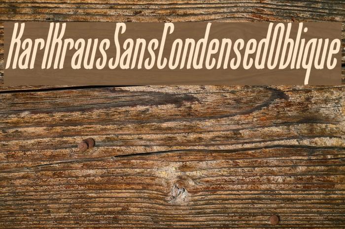 KarlKrausSansCondensedOblique फ़ॉन्ट examples