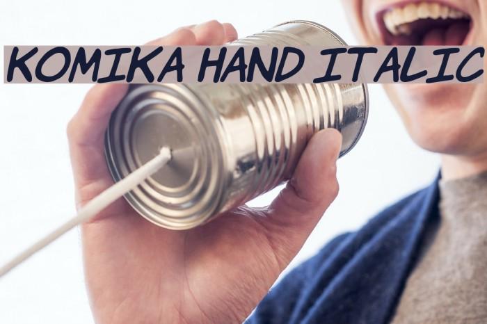 Komika Hand Italic Font examples