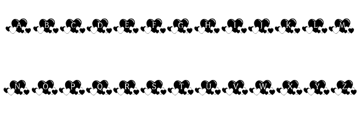 KR Lots Of Hearts Font LOWERCASE