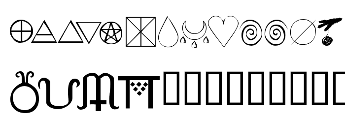 KR Wiccan Symbols Font UPPERCASE