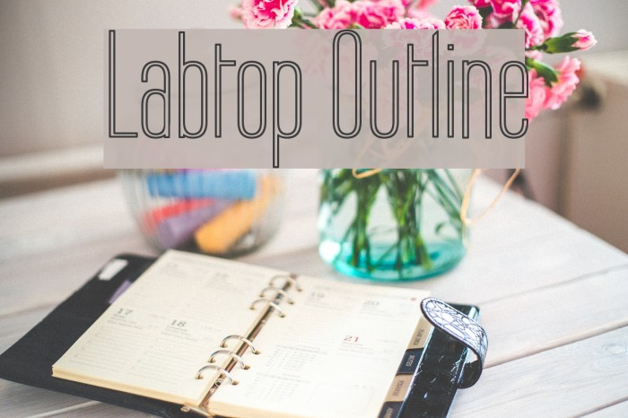 Labtop Outline Font examples