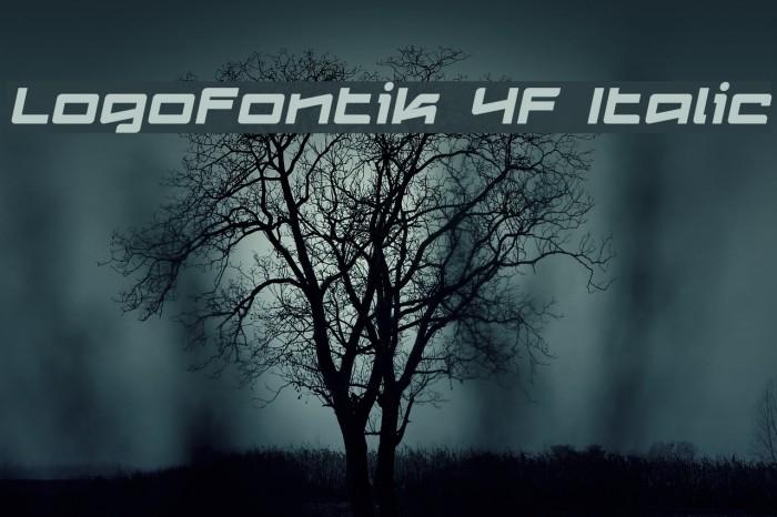 Logofontik 4F Italic Fonte examples
