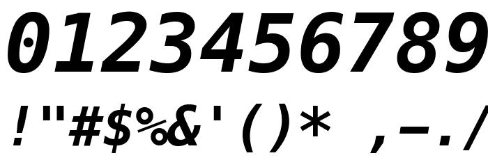 Meslo LG M DZ Bold Italic Шрифта ДРУГИЕ символов