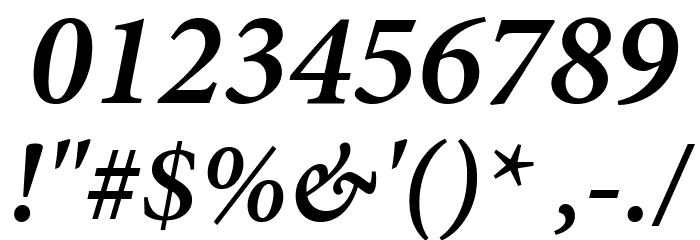 Mignon-SemiboldIt Font OTHER CHARS