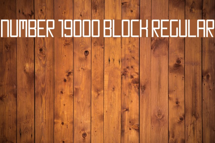 Number 19000 Block Regular Font examples