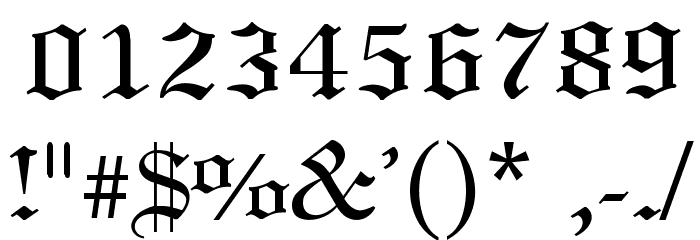Old English Font OTHER CHARS
