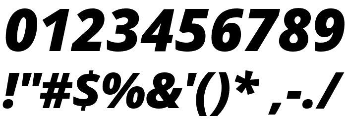 Open Sans Extrabold Italic Font OTHER CHARS