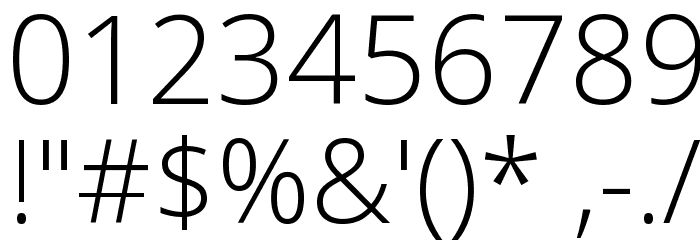 Open Sans Light Font OTHER CHARS