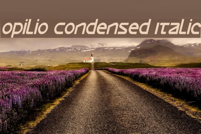 Opilio Condensed Italic Font examples