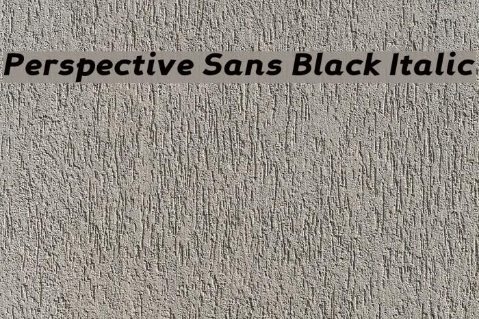 Perspective Sans Black Italic Fonte examples