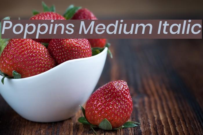 Poppins Medium Italic Font examples