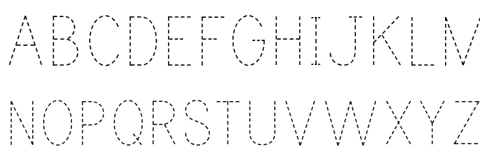 Print Dashed Font UPPERCASE