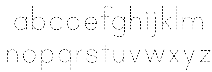 Print Dashed Font LOWERCASE