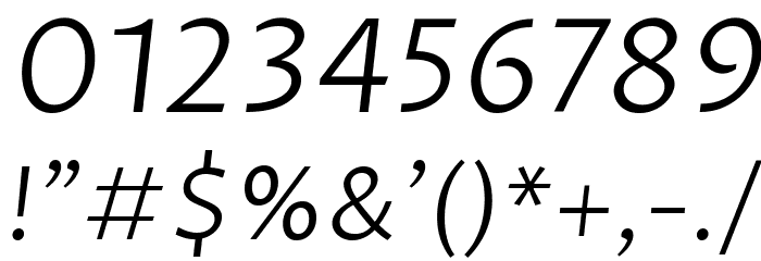 Proza Libre Light Italic Font OTHER CHARS