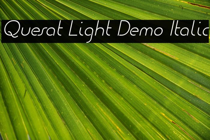 Quesat Light Demo Italic Schriftart examples