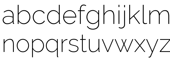 Raleway ExtraLight Font LOWERCASE