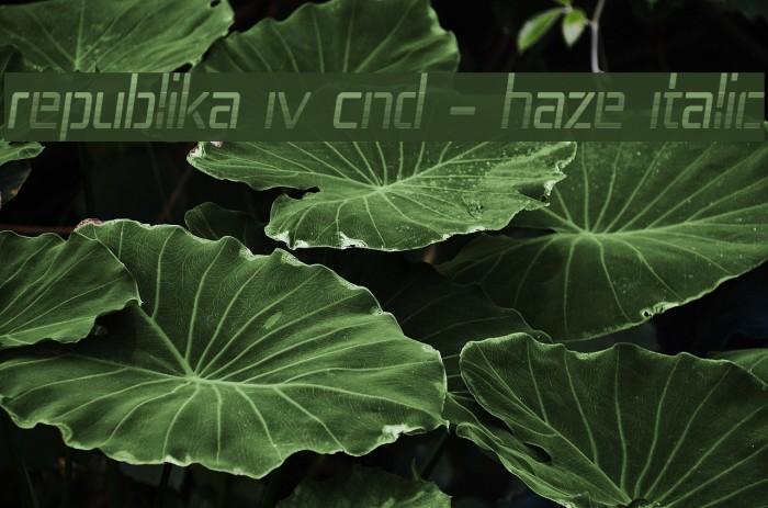 Republika IV Cnd - Haze Italic Шрифта examples