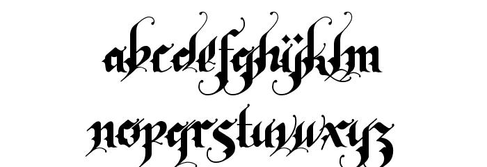 RhapsodyBlackLetter フォント 小文字