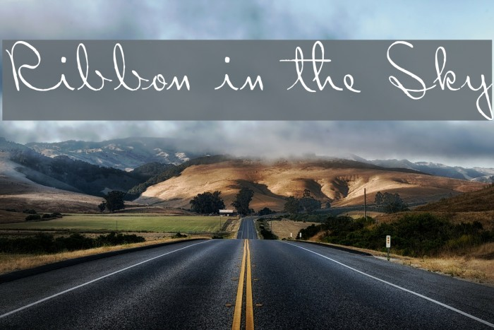 Ribbon in the Sky Font examples