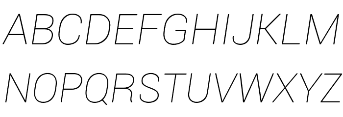Roboto Thin Italic Шрифта ВЕРХНИЙ