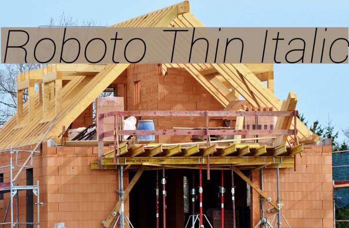 Roboto Thin Italic Шрифта examples