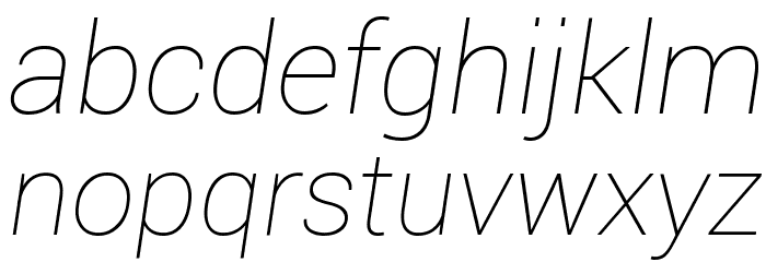 Roboto Thin Italic Шрифта строчной